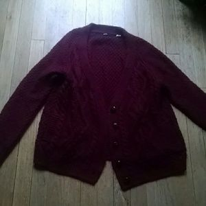 BDG  maroon cable knit grandpa sweater